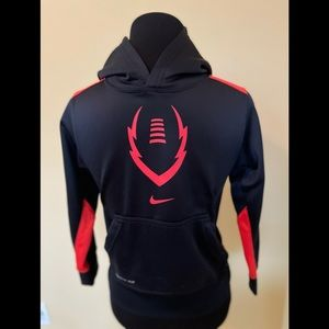 Nike Football Pullover Black & Red Hoodie Sz Small